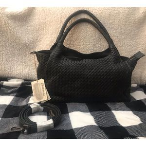 PLATANIA Made in Italy Woven Leather Hobo Shoulder